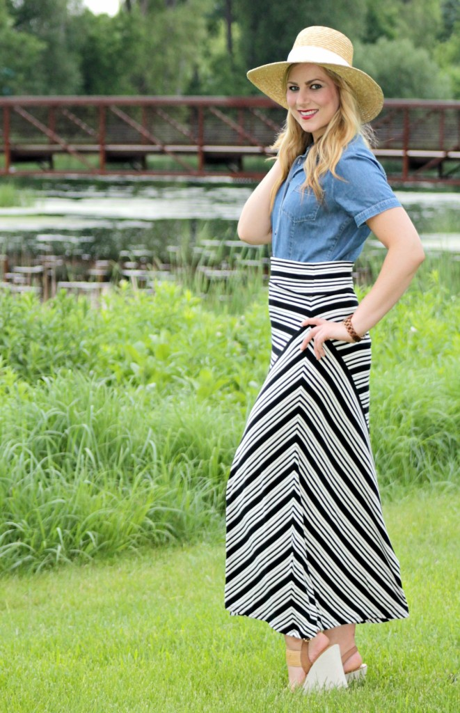summer style hat, chambray and striped skirt