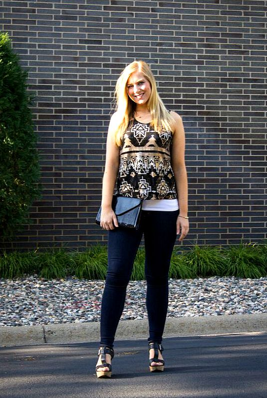 sequin tank top and jean leggings