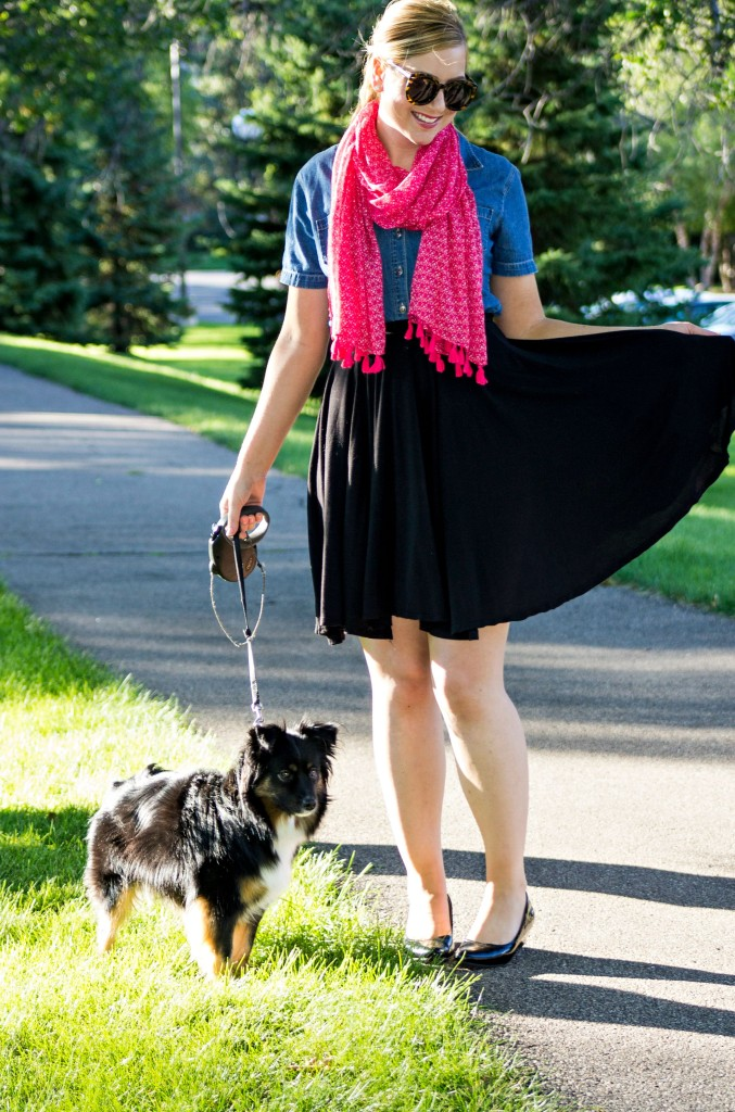pink scarf, chambray top, black skirt
