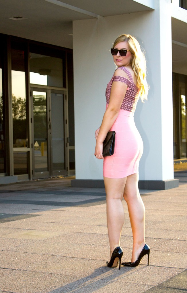 Bandage Dress - Pink & Black