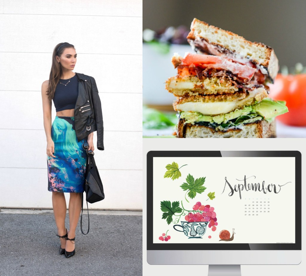 Image of Thoughtful Misfit outfit post, a BLAT sandwich with provolone and a September 2015 desktop calendar
