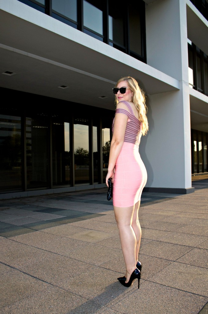 Pink & Black Bandage Dress with Black Heels
