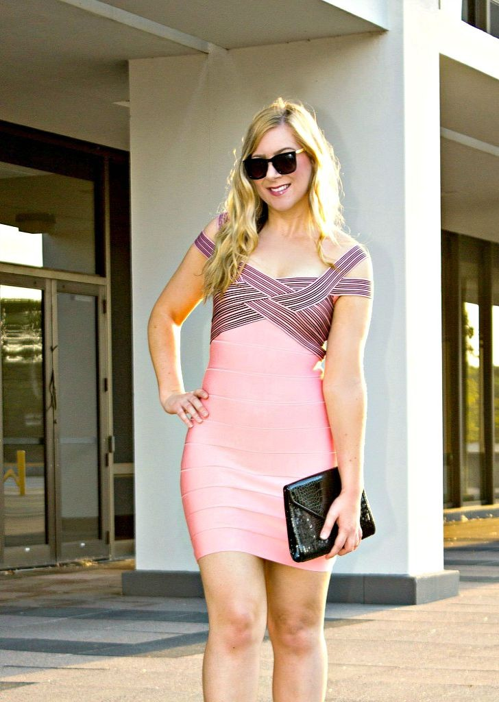 Pink-Black-Bandage-Dress