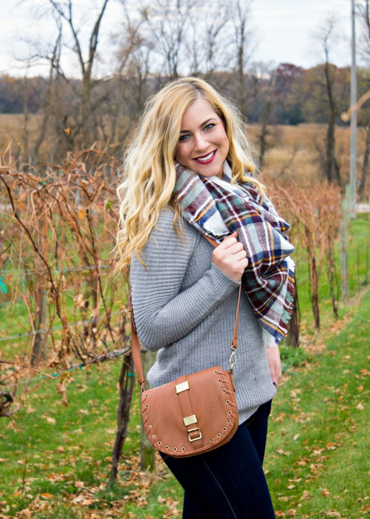 Blanket Scarf, Sweater and Side Bag