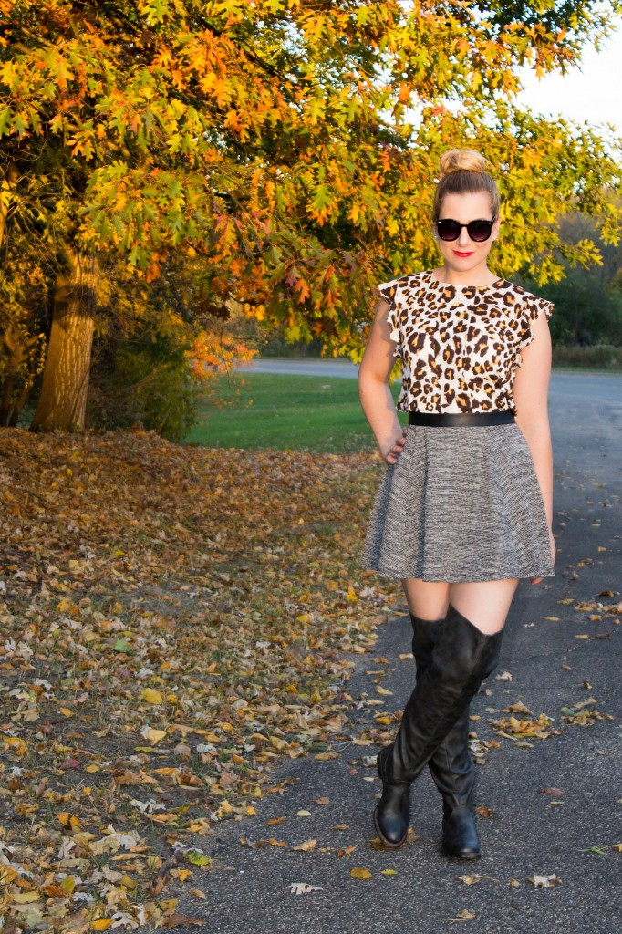 Fall Style, Leopard Top, Tweed Skirt and OTK Boots