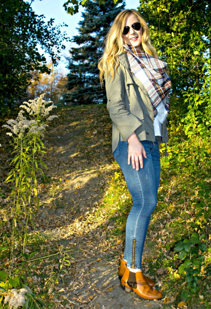 Green Jacket + Jeans + Fall Booties
