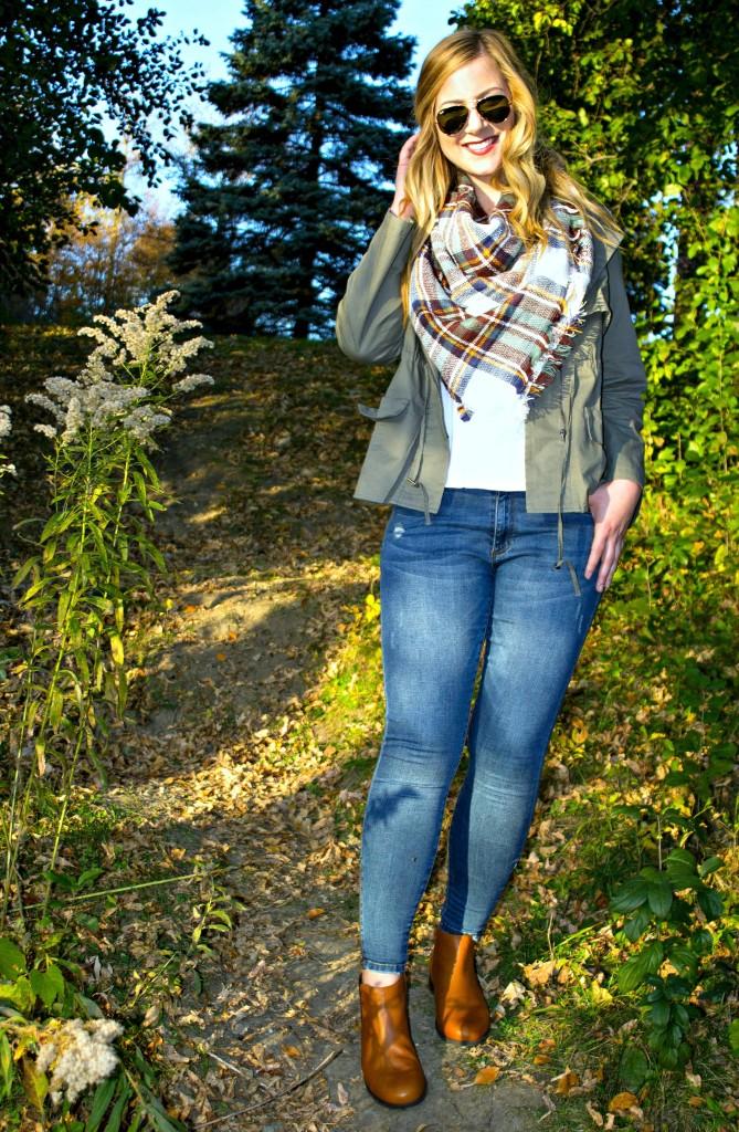 Jeans + Jacket + Blanket Scarf