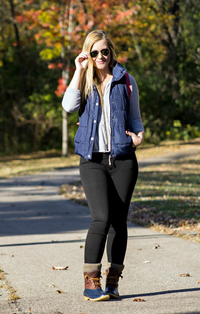 Puffer Vest + Sperry Boots