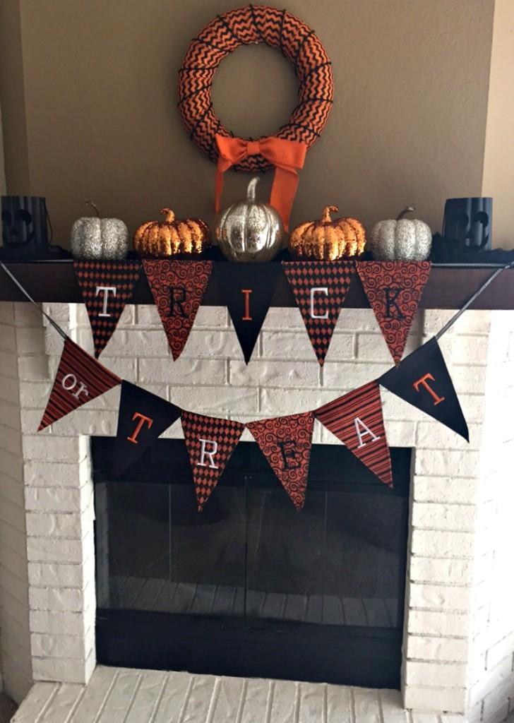 White Fireplace Halloween Decor