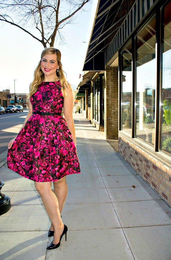 Black and Pink Floral Fit and Flare Dress