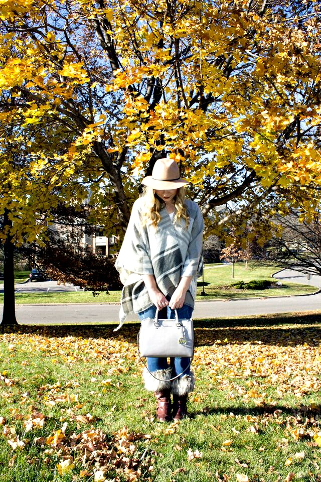 Fall Poncho in Leaves