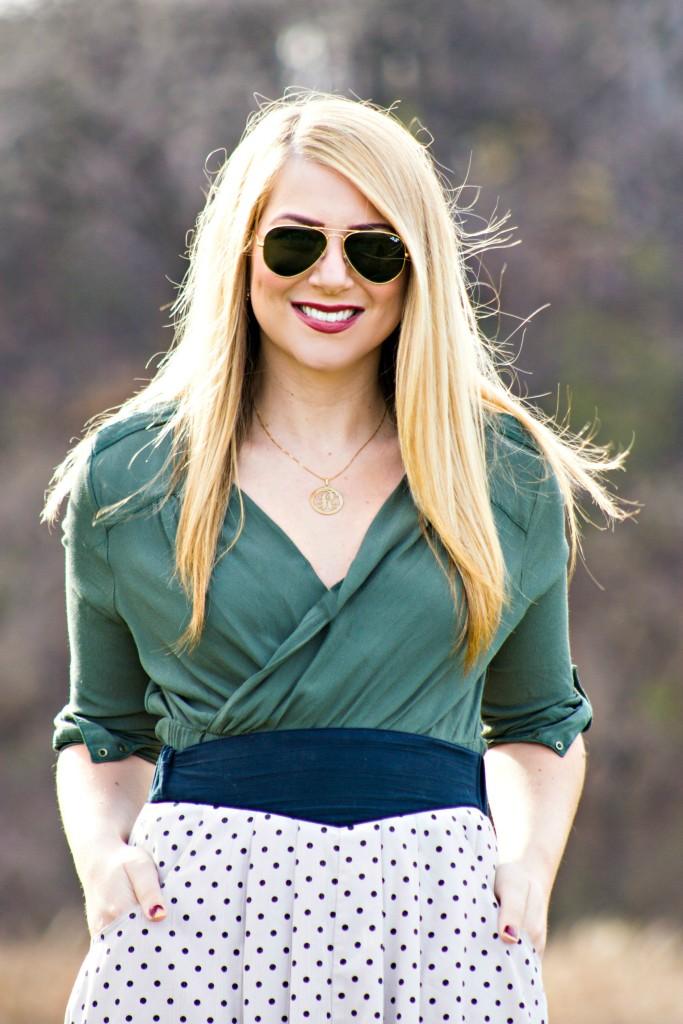 Green Top + Polka Dot Skirt