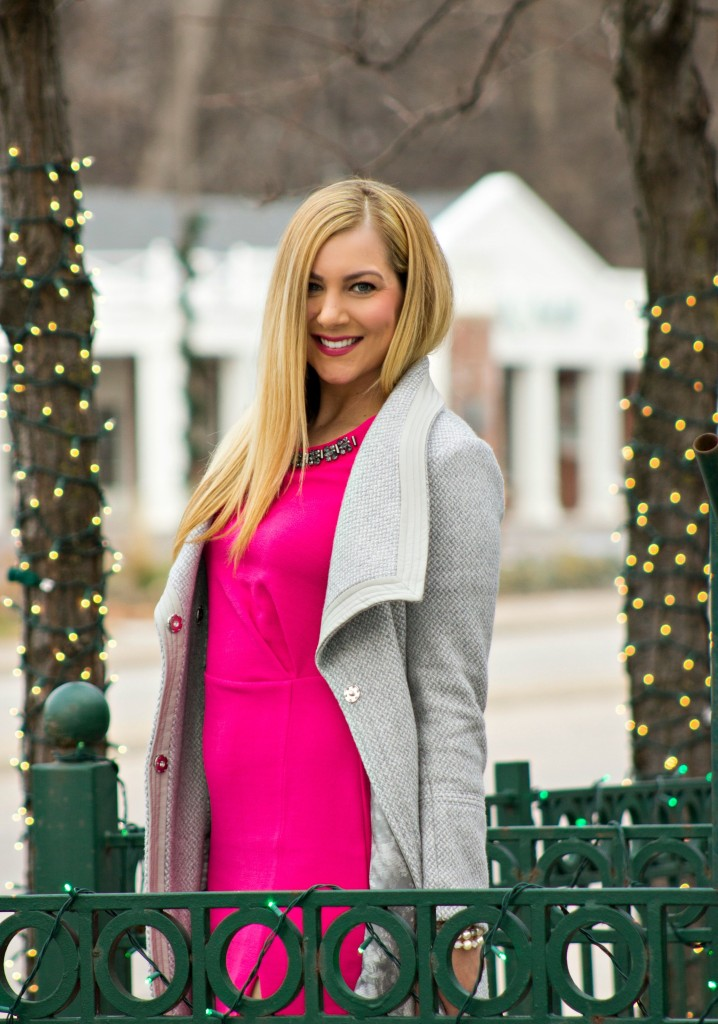 Holiday Party Style Pink Dress + Gray Coat