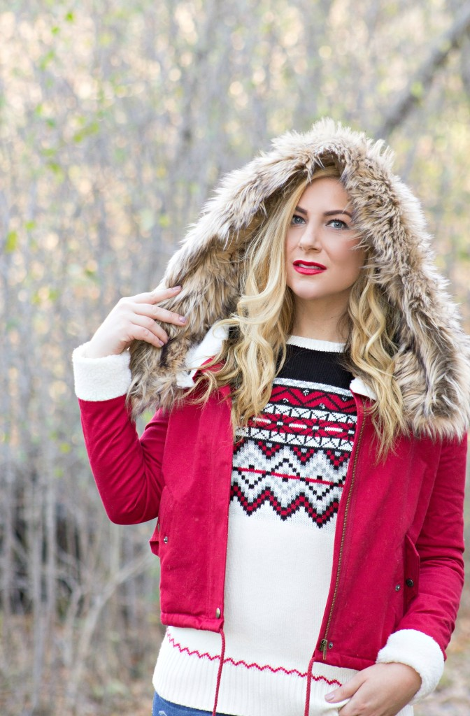 Red Faux Fur Coat & Fair Isle Holiday Sweater