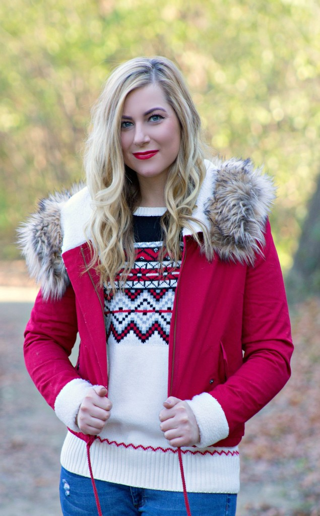 Red Faux Fur Hooded Coat + Holiday Sweater