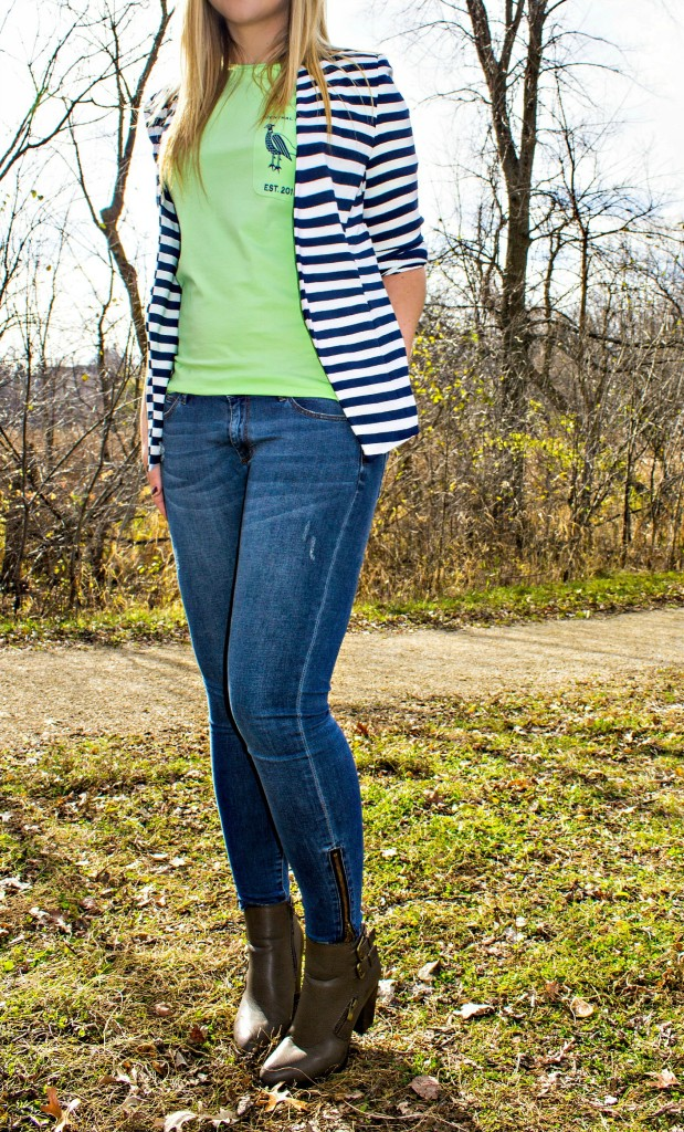 Striped Blazer + Central Standard Co. T-Shirt