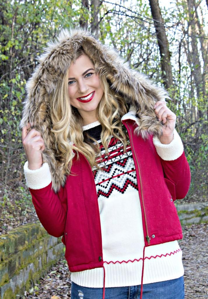 faux fur red coat