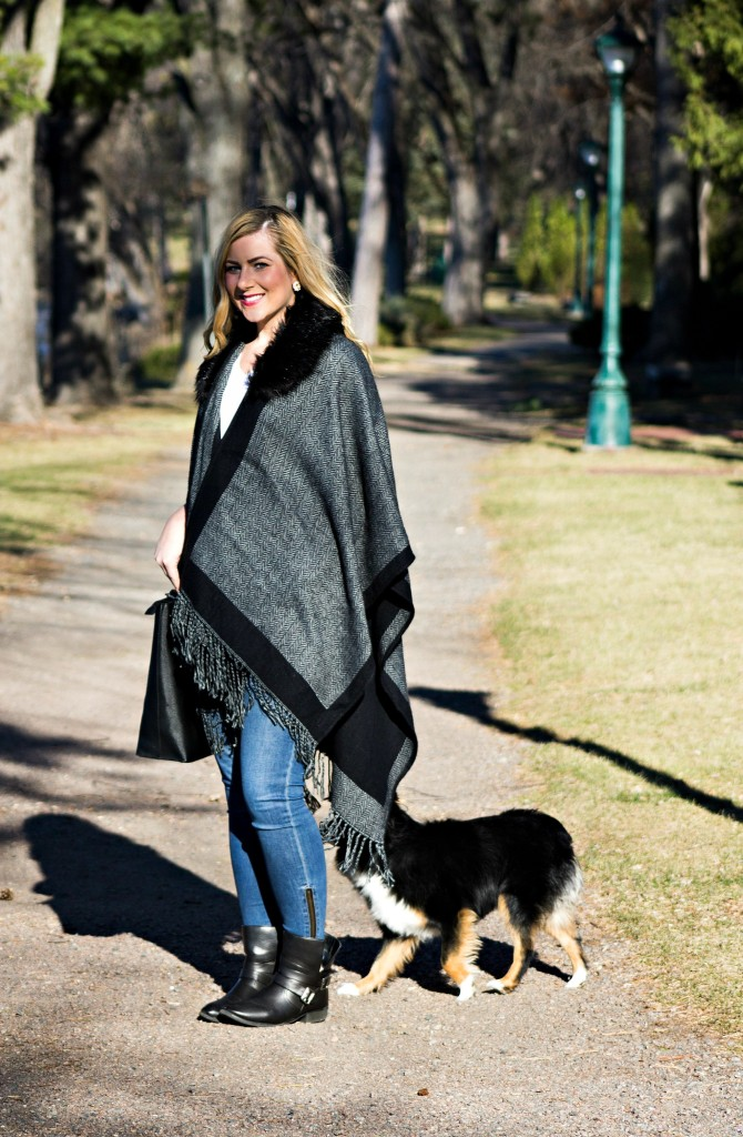 Faux Fur Poncho and Jeans