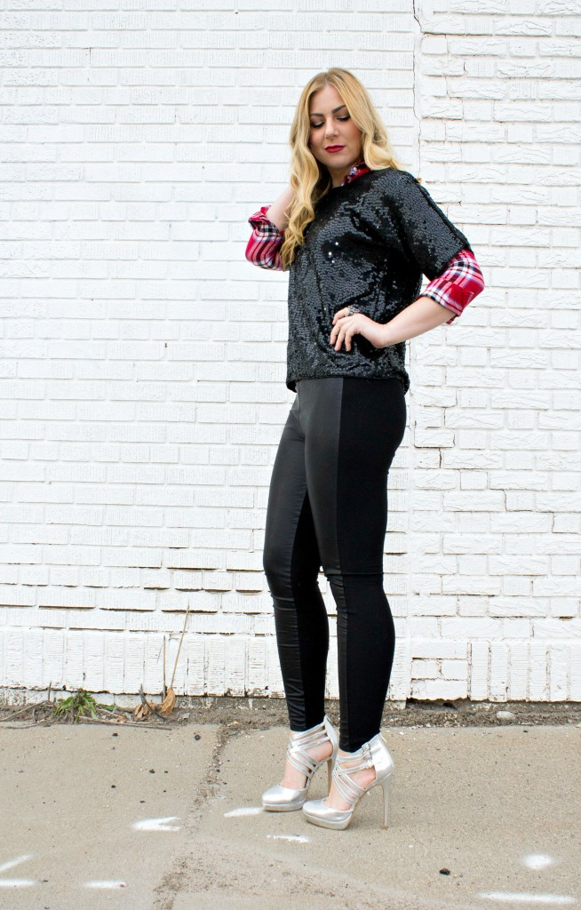 Faux Leather Leggings + sequin shirt