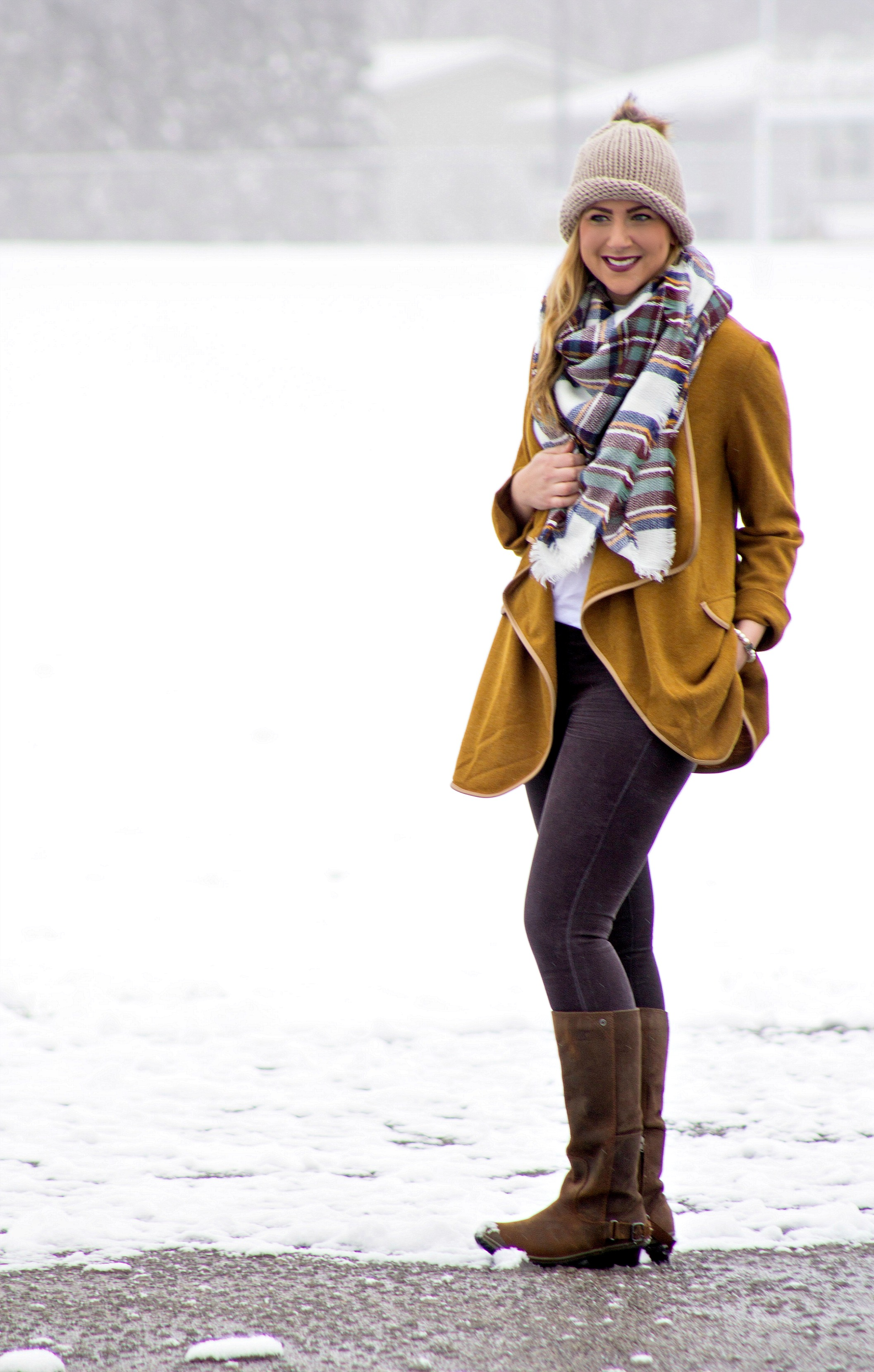Mustard Yellow Cardigan + Blanket Scarf - Rachel's Lookbook