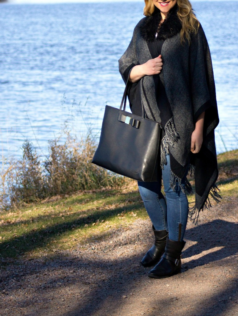 Poncho + Jeans + Booties