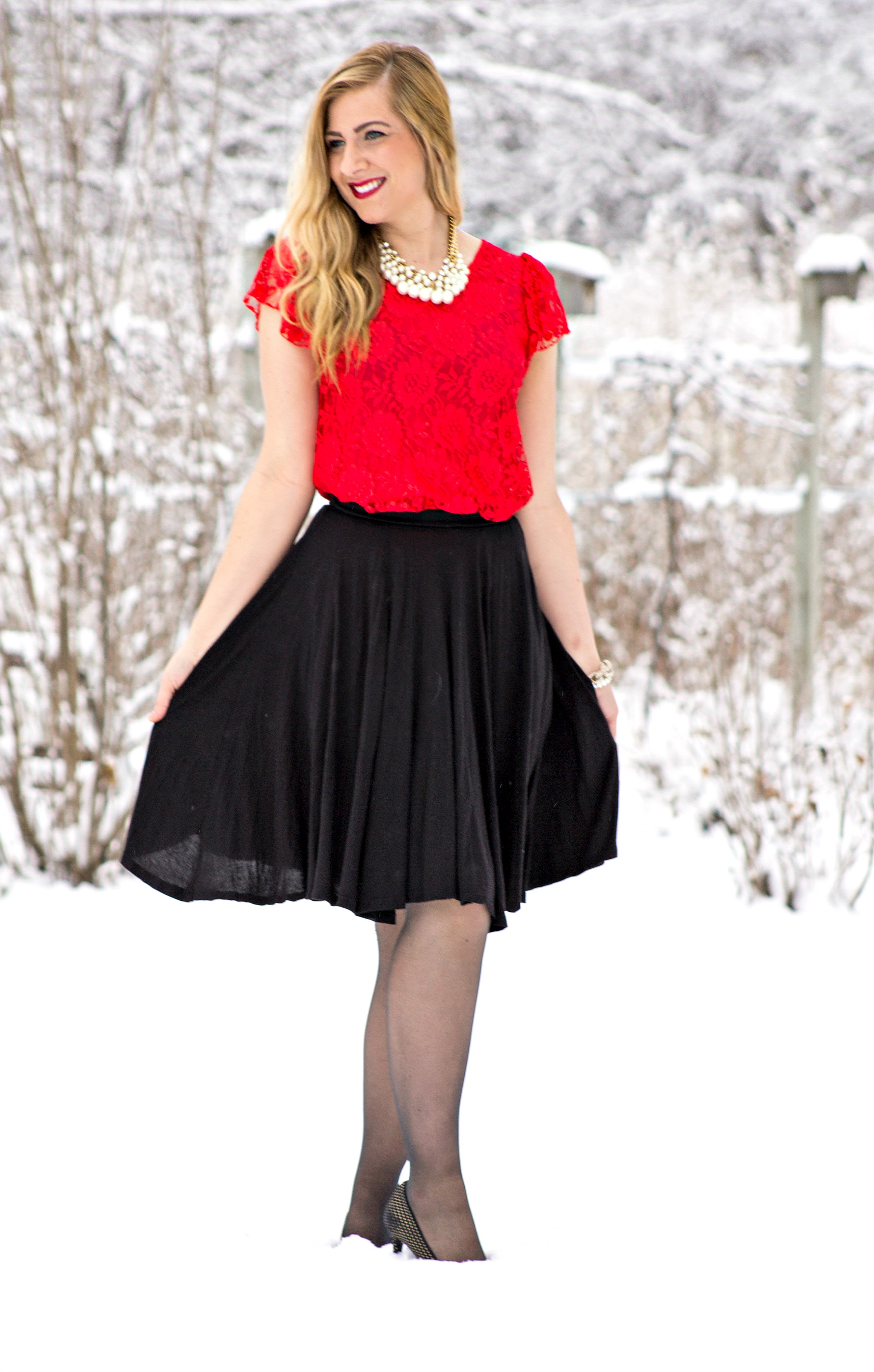 Red Lace Top + Black Skirt + Pearl Necklace