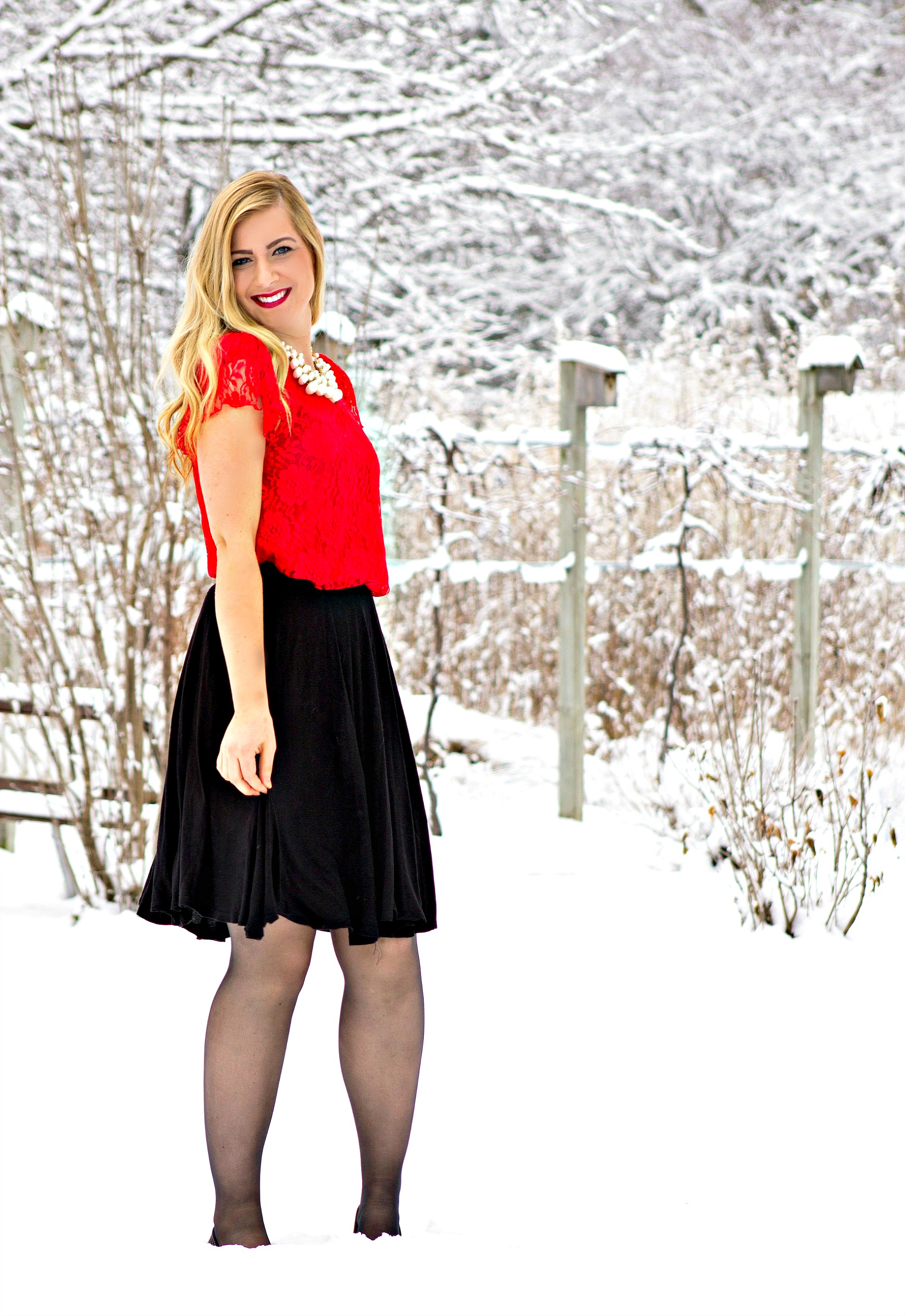 Red Lace Top + Black Skirt for Christmas