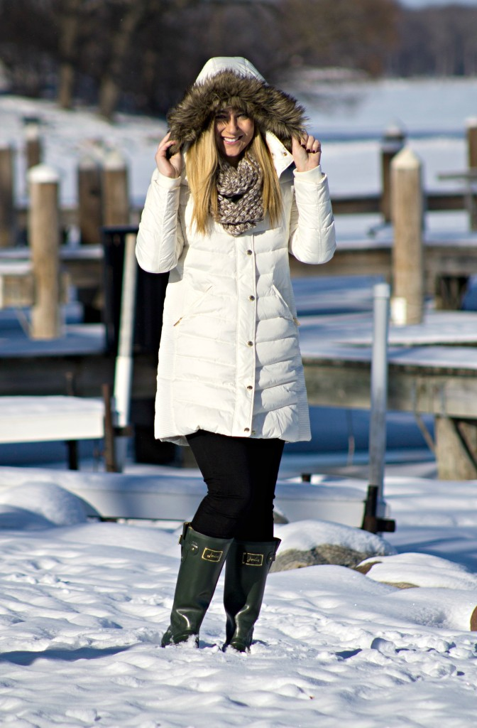 White Puffer Coat + Green Rainboots
