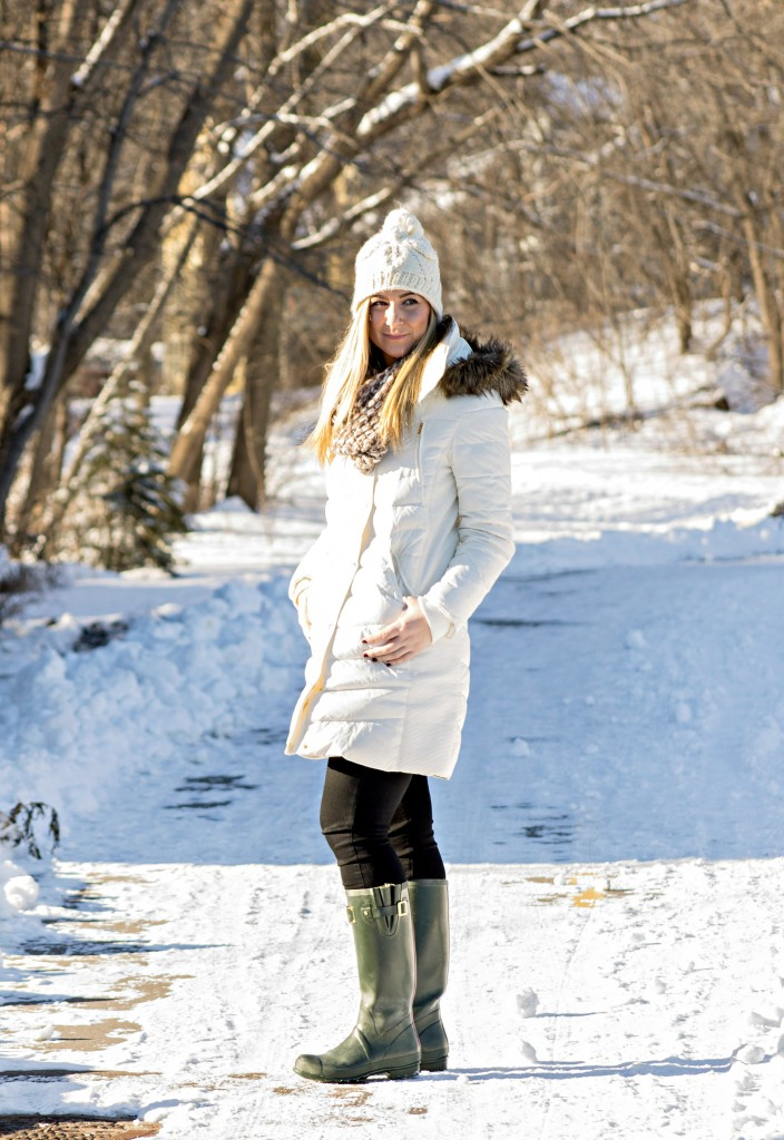 White Puffer Coat + Rainboots