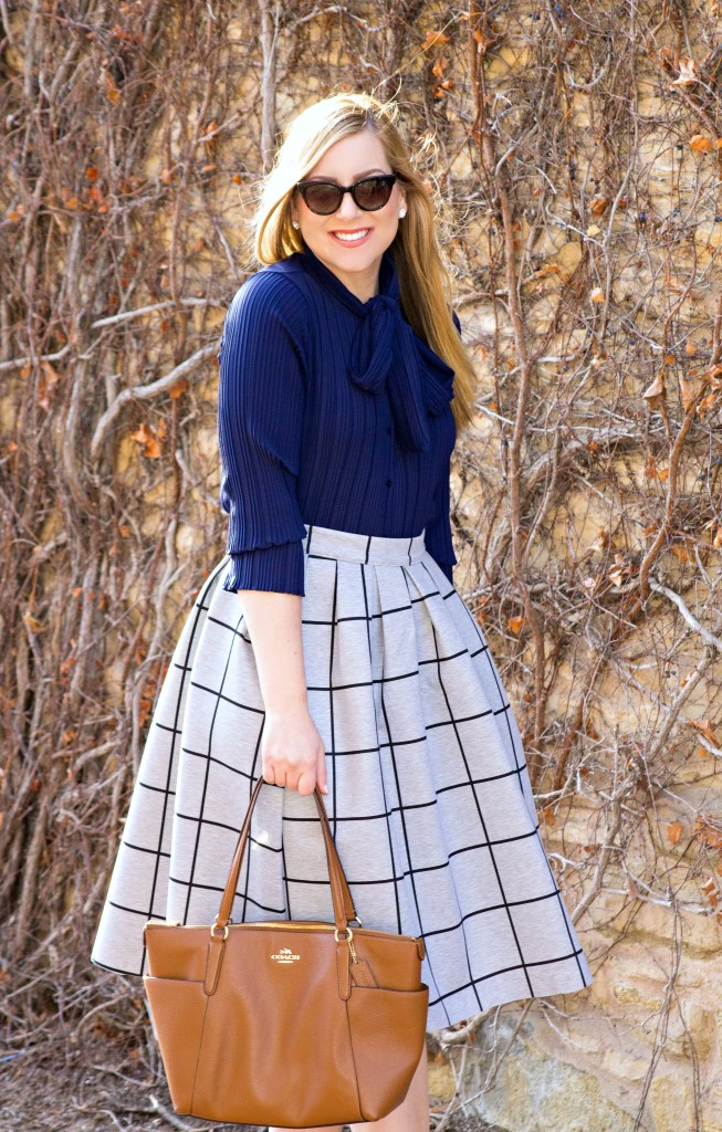 Bow-tie Blouse + Grid Print Skirt
