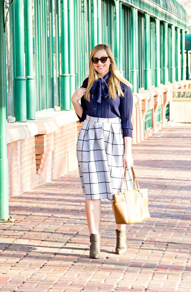 How to Wear a Bow-Tie Blouse and Midi Skirt