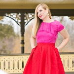 Pink Lace + Red Midi Skirt: Valentine's Day Look
