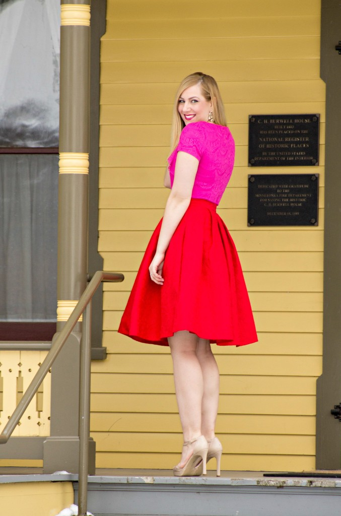 Pink Lace Top + Red Midi Skirt