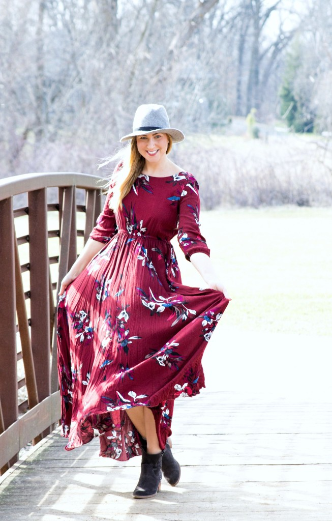 Chicwish floral maroon dress