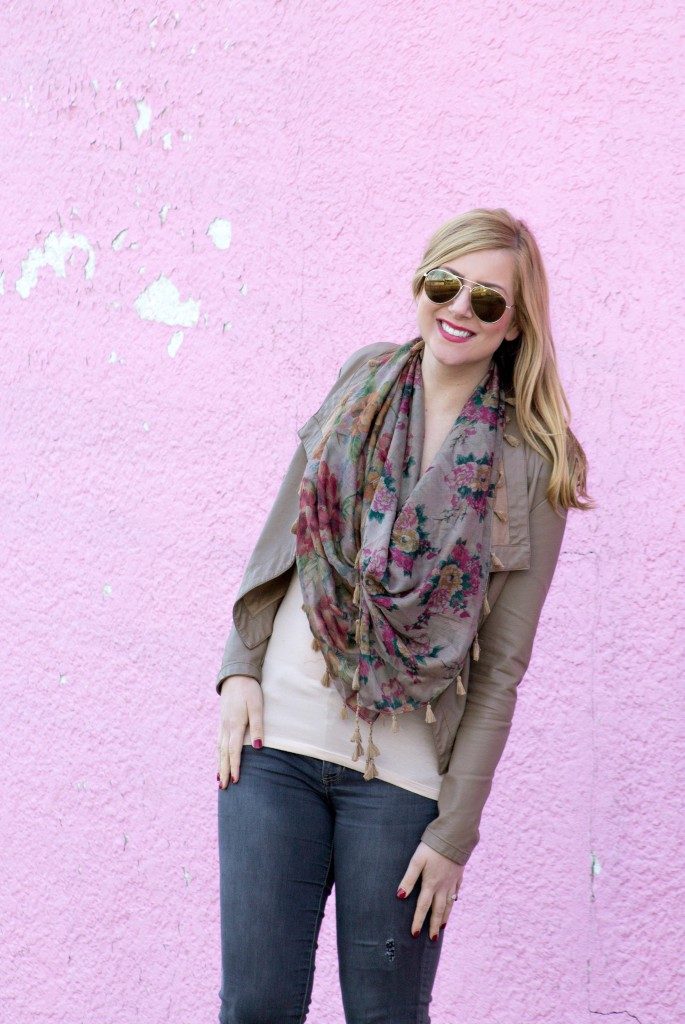 Floral Scarf, Tan Jacket, Gray Jeans