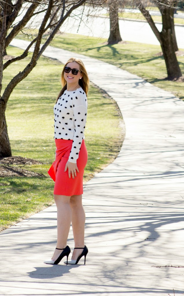 Bright Coral Banana Republic Skirt