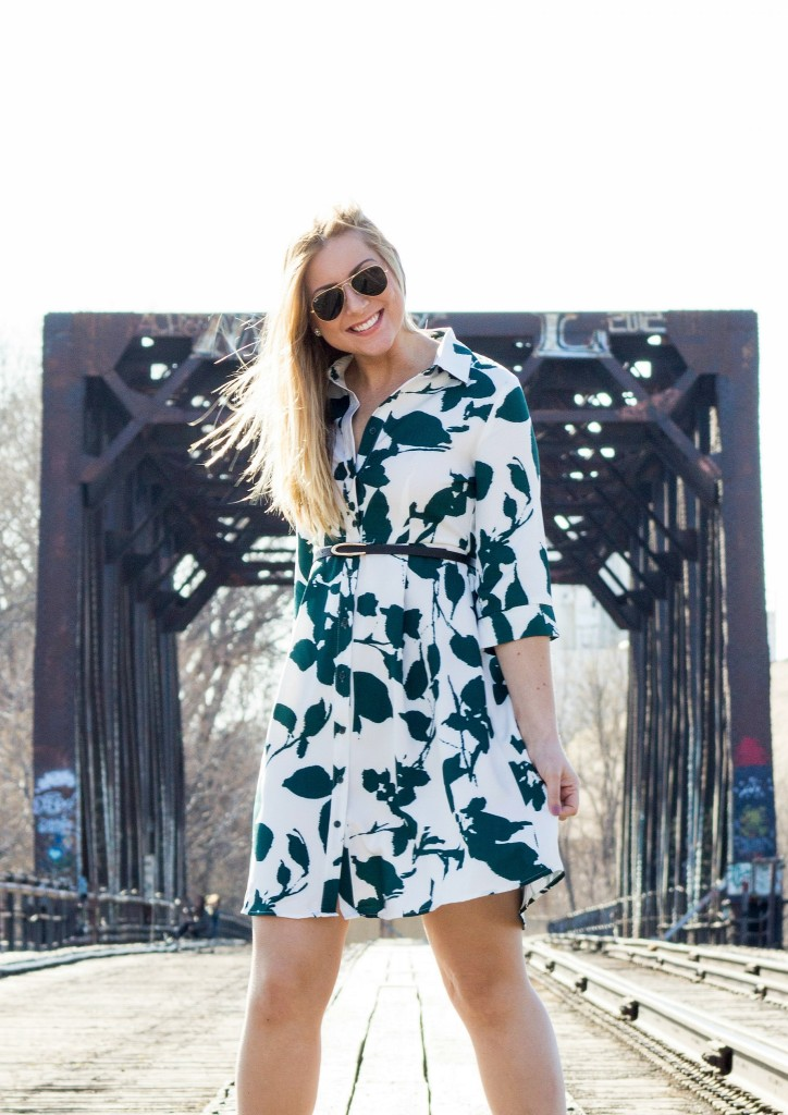 Teal and White Shirt Dress