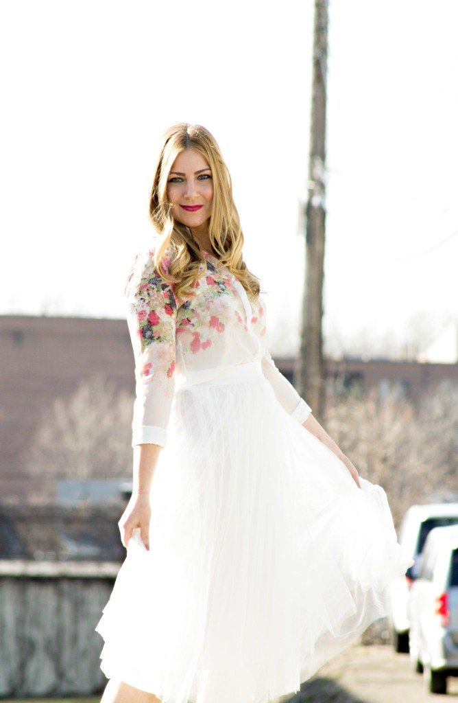 Tulle Skirt + Floral Blouse