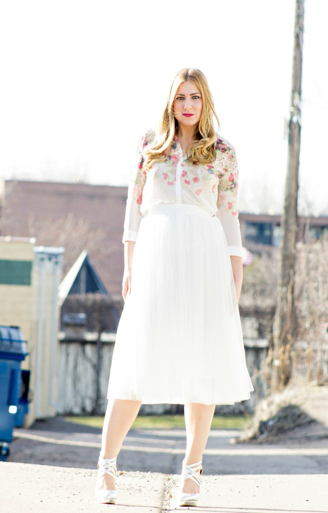 Tulle Skirt + Floral Top from YesStyle