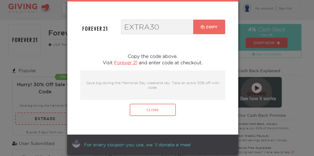 Extra30 Forever21 deal