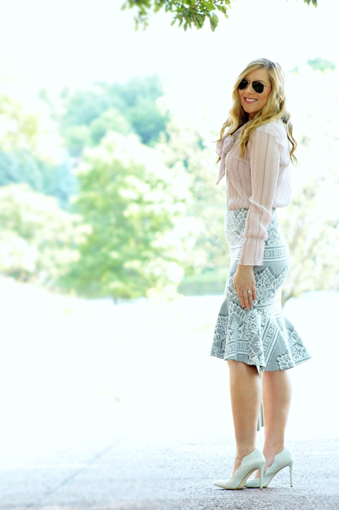 Bow-Tie Blouse + Peplum Skirt
