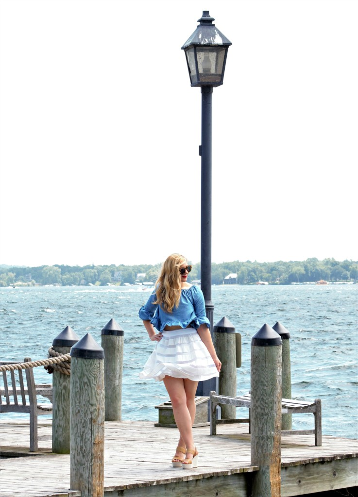 Chambray top and white skirt