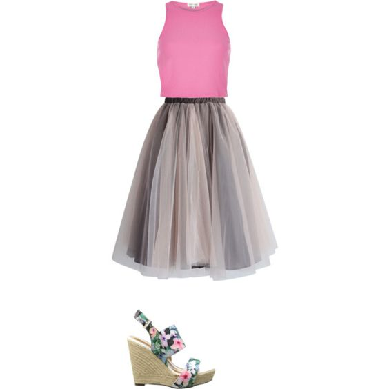 Going Out Style - Pink Crop Top, Mesh Tulle Skirt and Wedges