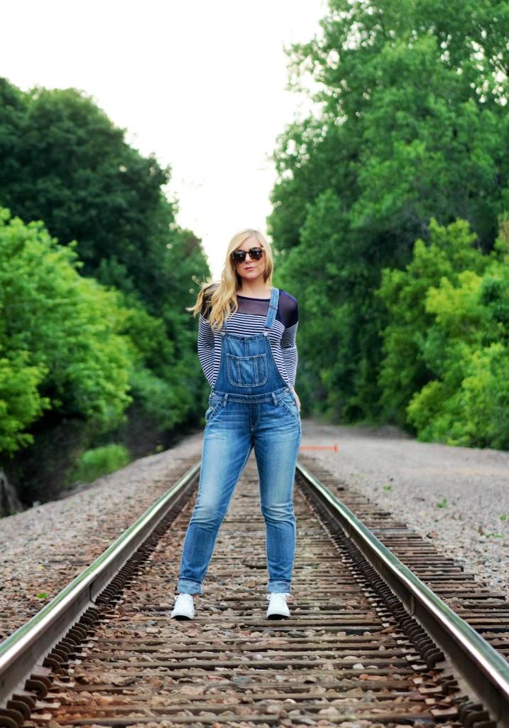 Karen Walker SUnglasses, Overalls and striped shirt