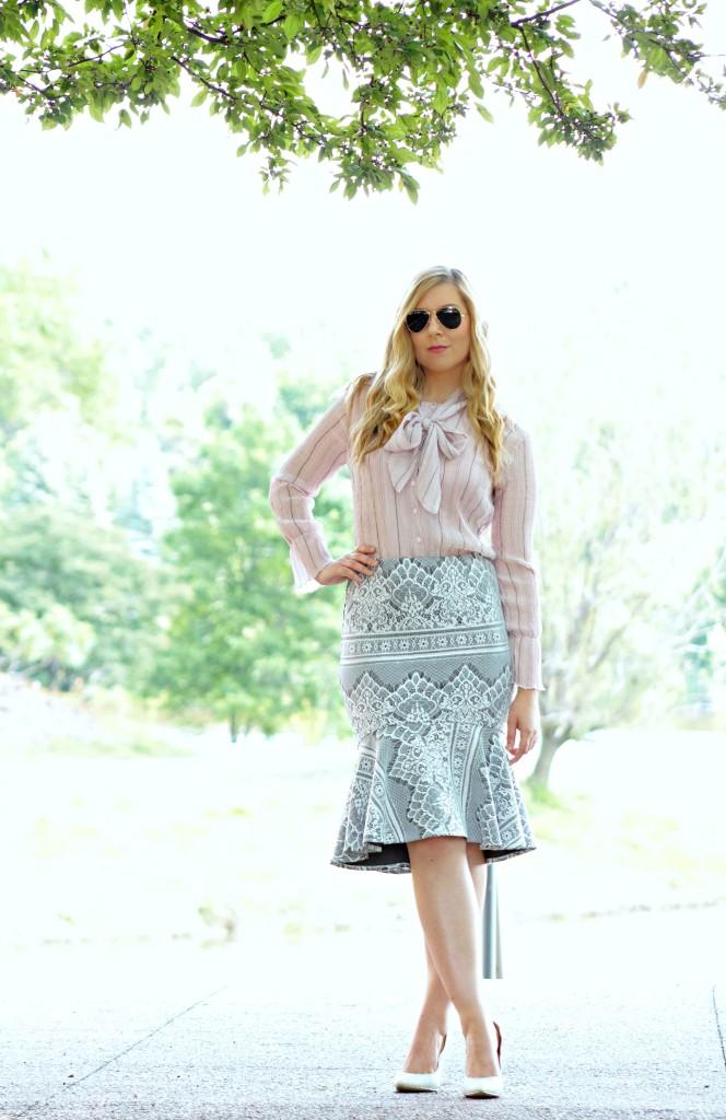 Peplum Barcode Skirt