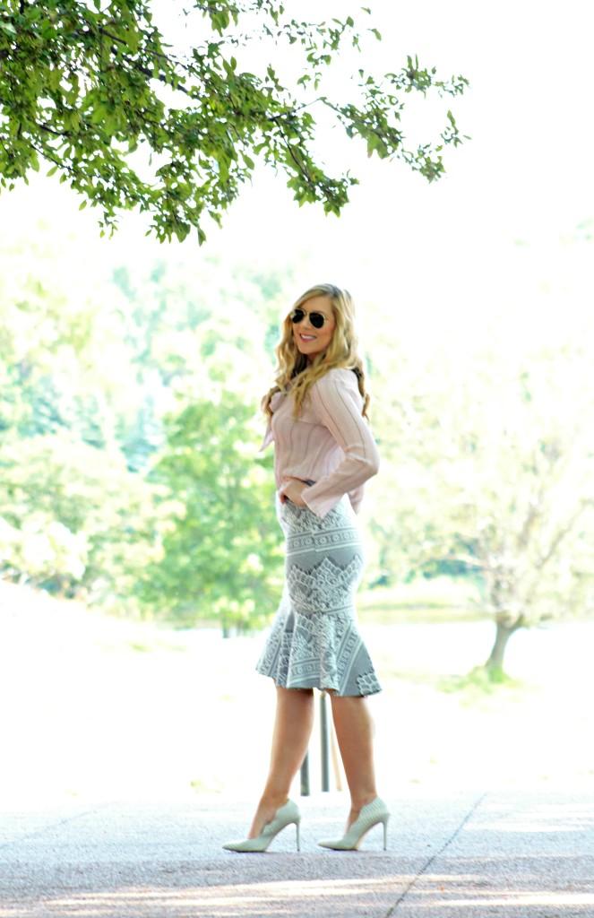 White Heels + Barcode Pencil Skirt