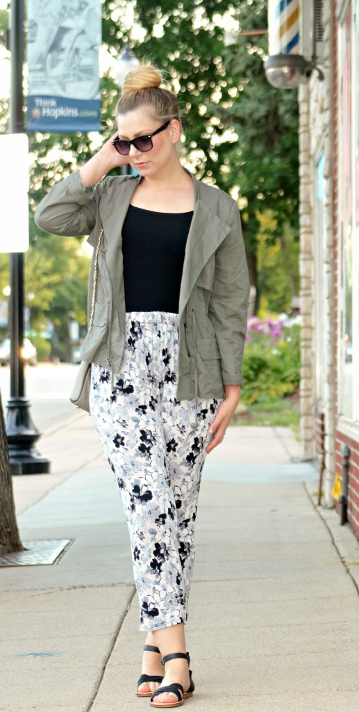 Army Green Jacket + Floral Pants