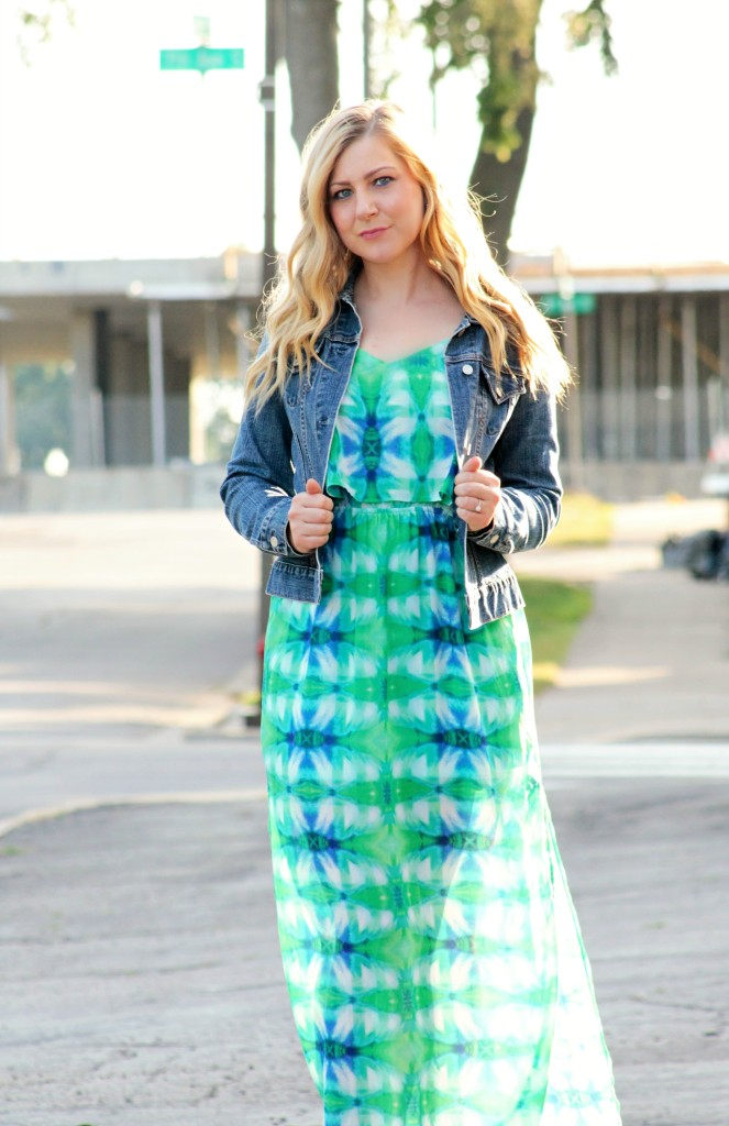 Dark Denim Jacket + Blue and Green Maxi Dress