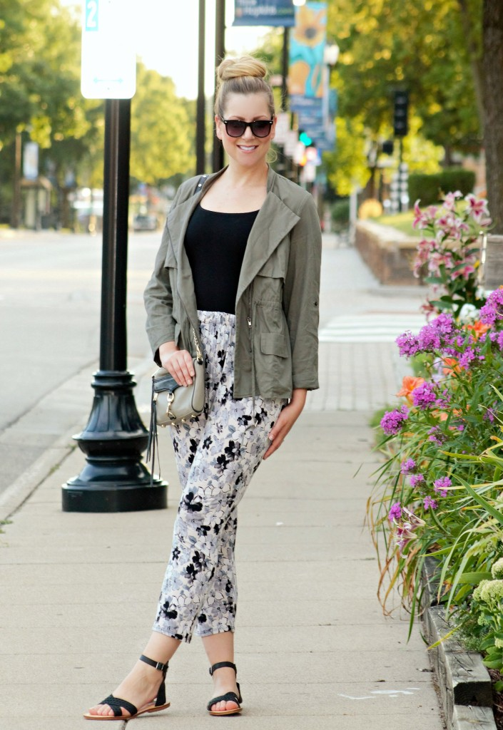 Green Jacket + Floral Pants