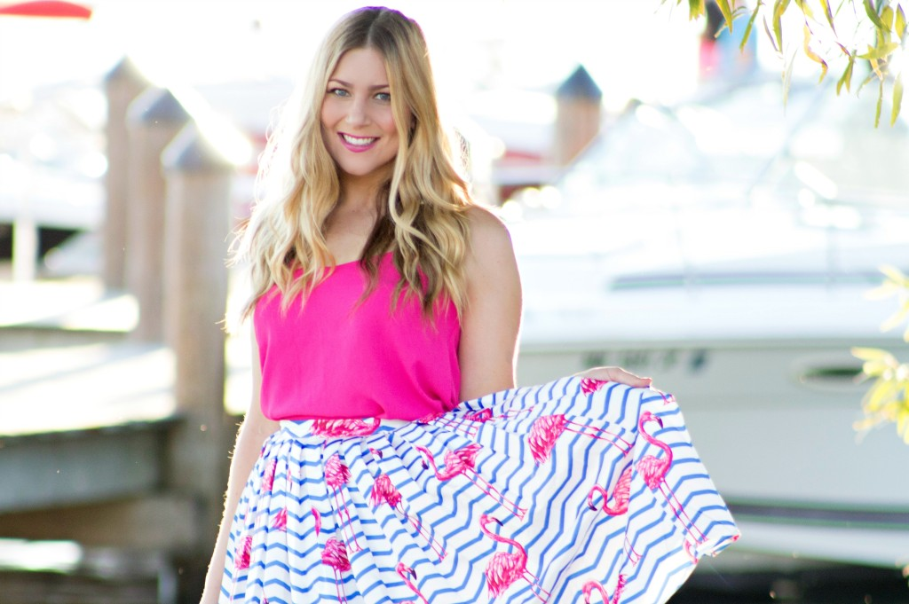 Chicwish flamingo print skirt